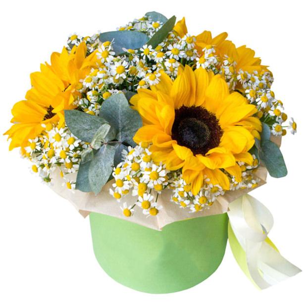 """Цветы в коробке """"Солнечный день"""""""